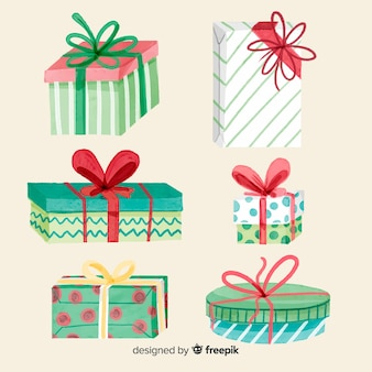 Coleção de caixa de presente de natal em aquarela