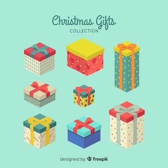 Coleção de caixa de presente de natal em design plano