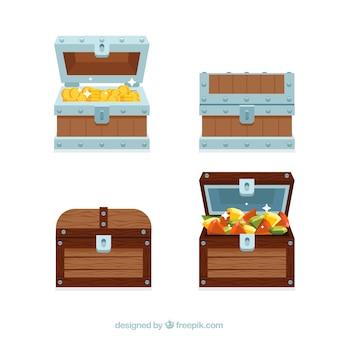 Coleção de caixa de tesouro aberta e fechada com design plano