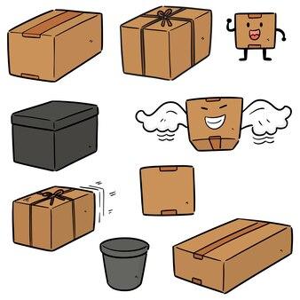 Coleção de caixa isolada em branco