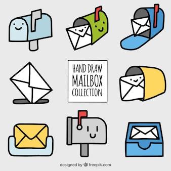 Coleção de caixas de correio desenhados à mão agradáveis