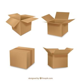 Coleção de caixas de papelão em estilo realista