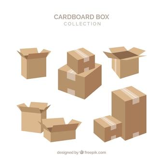 Coleção de caixas de papelão para embarque