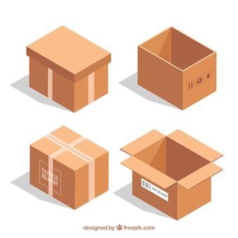 Coleção de caixas de papelão para envio em estilo realista