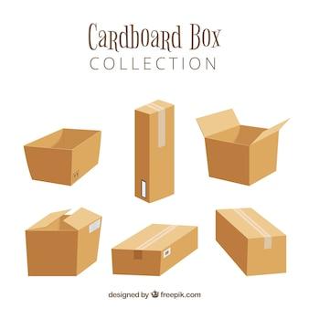 Coleção de caixas de papelão para o transporte