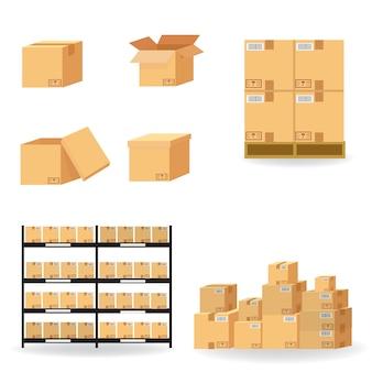 Coleção de caixas de papelão