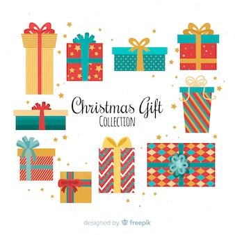 Coleção de caixas de presente de natal colorido em design plano
