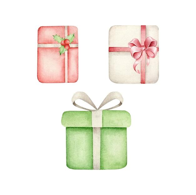 Coleção de caixas de presente de natal