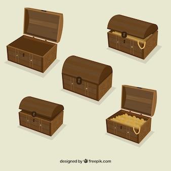 Coleção de caixas de tesouro abertas e fechadas