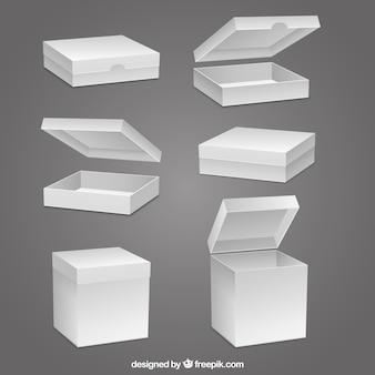 Coleção de caixas em branco