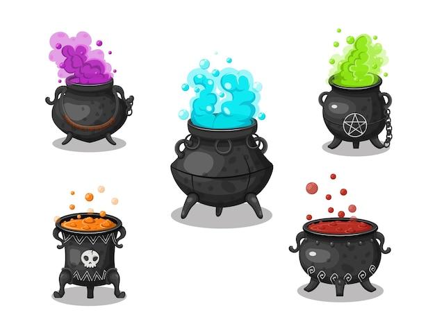 Coleção de caldeirão de bruxas. caldeirão de bruxas de desenho animado de conceito em diferente. conjunto de elementos de halloween. ilustração de clipart em vetor isolada em um fundo branco