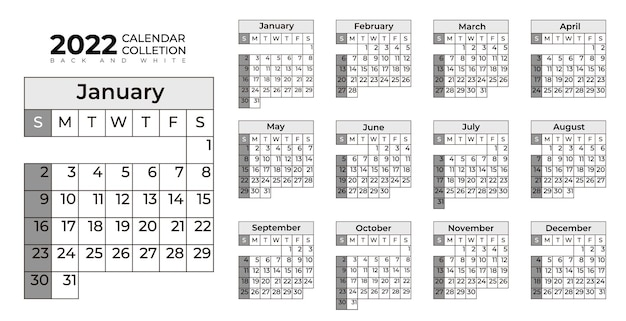 Coleção de calendário 2022 em preto e branco