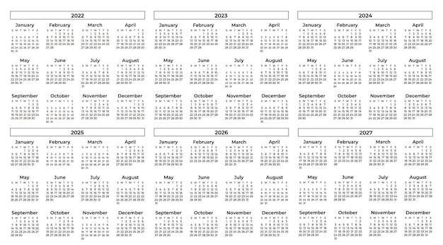 Coleção de calendários em preto e branco