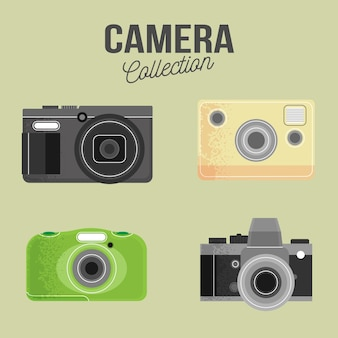 Coleção de câmera clássica de design plano
