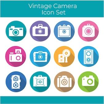 Coleção de câmera do vintage dentro de círculos coloridos