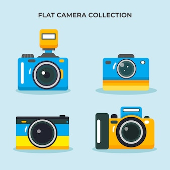 Coleção de câmera fotográfica de design plano