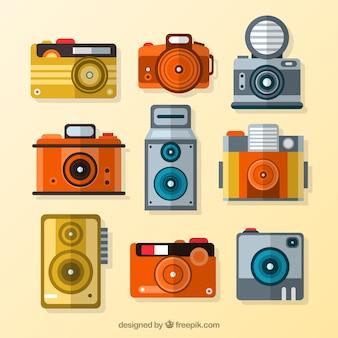 Coleção de câmera plana do vintage