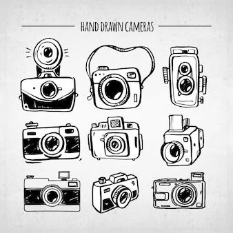 Coleção de câmera vintage divertida desenhada a mão