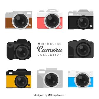 Coleção de câmeras digitais de design plano