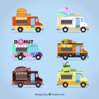 Coleção de caminhão de alimentos com estilo colorido