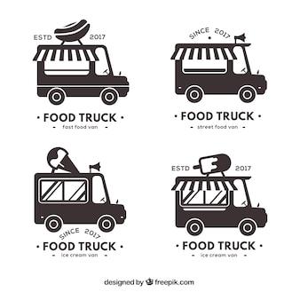 Coleção de caminhão de alimentos preto e branco