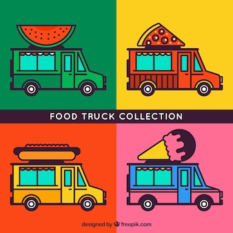 Coleção de caminhão de comida com estilo desenhado a mão