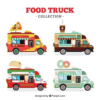Coleção de caminhões alimentares com estilo moderno
