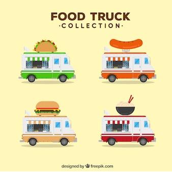Coleção de caminhões de alimentos com comida moderna