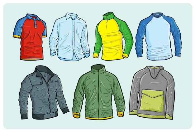 Coleção de camisas masculinas descolada e moderna em estilo doodle simples