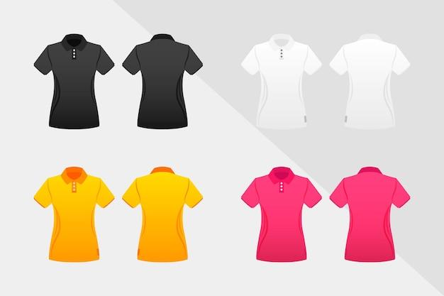 Coleção de camisas polo coloridas para mulheres