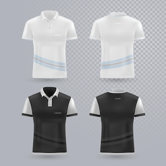 Coleção de camisas pólo frente e costas