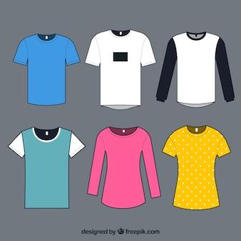 Coleção de camisetas em cores diferentes