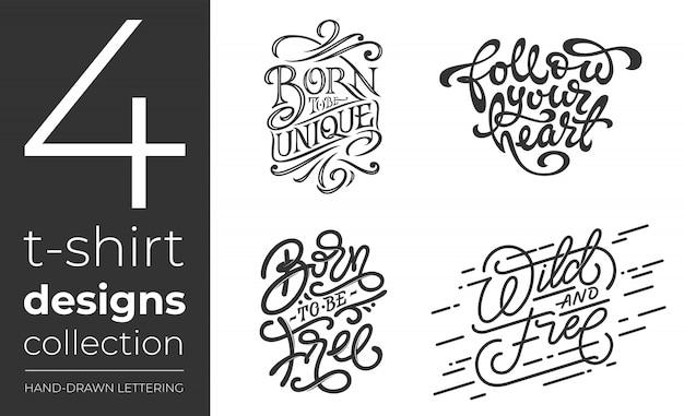 Coleção de camisetas em fundo branco. conjunto de letras para t-shirt. coleção vintage de tipografia manuscrita. ilustração para lojas de impressão.