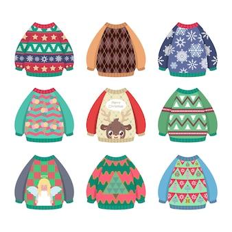 Coleção de camisolas de natal coloridas feias