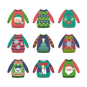 Coleção de camisolas de natal feias e coloridas com padrões