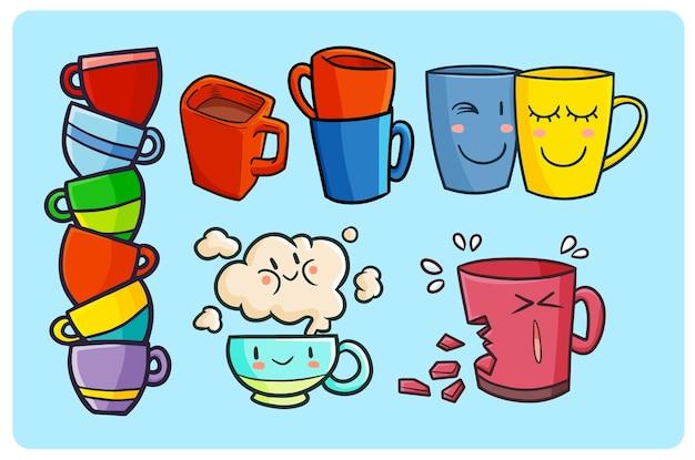 Coleção de canecas ou canecas engraçadas e fofas no estilo kawaii doodle