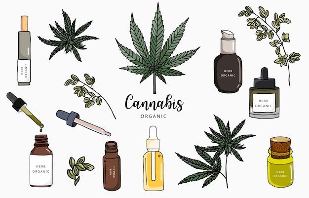 Coleção de cannabis com garrafa, óleo, produto.