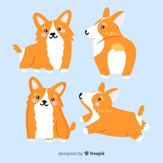 Coleção de cão adorável mão desenhada