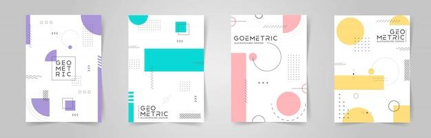 Coleção de capa abstrata colorida com formas geométricas