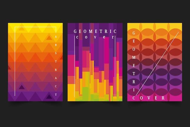 Coleção de capa abstrata com diferentes formas coloridas