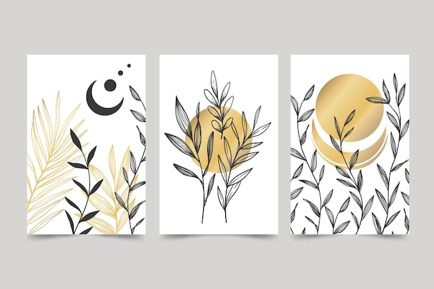 Coleção de capa botânica dourada