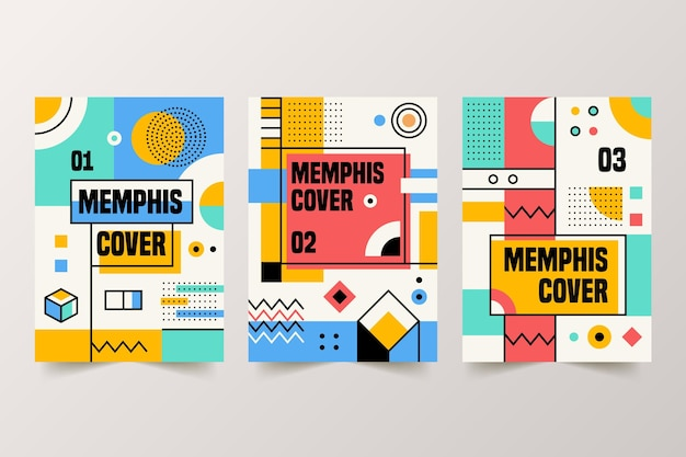 Coleção de capa colorida com design de memphis