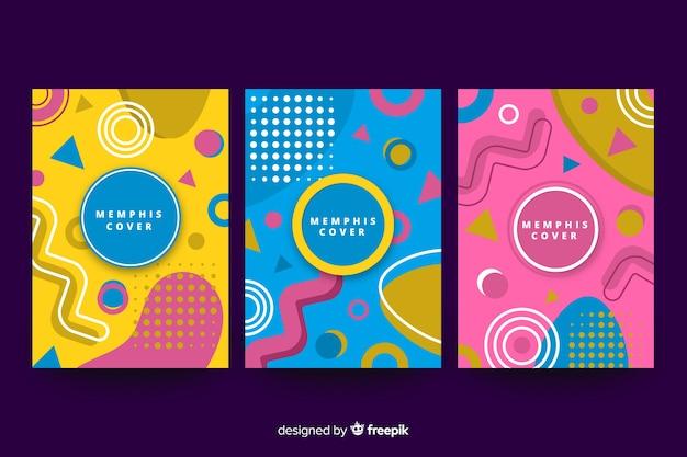 Coleção de capa colorida de memphis