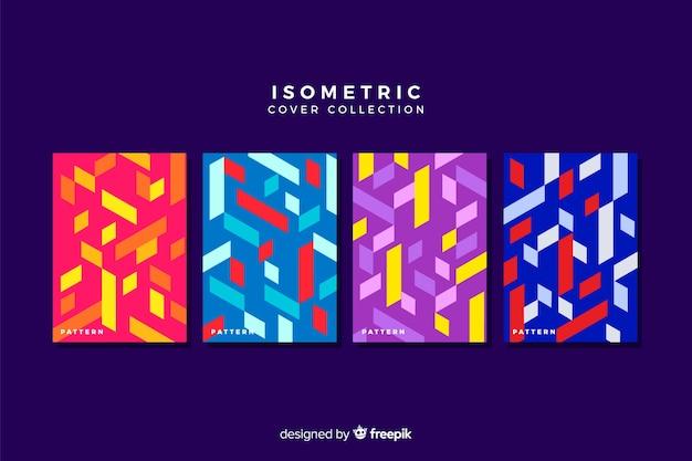 Coleção de capa colorida estilo isométrico