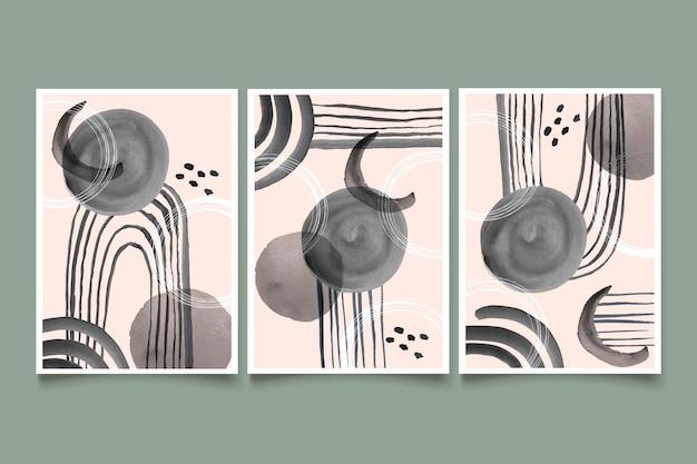 Coleção de capa de aquarela abstrata incolor