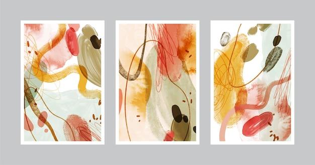 Coleção de capa de arte abstrata pintada à mão em aquarela