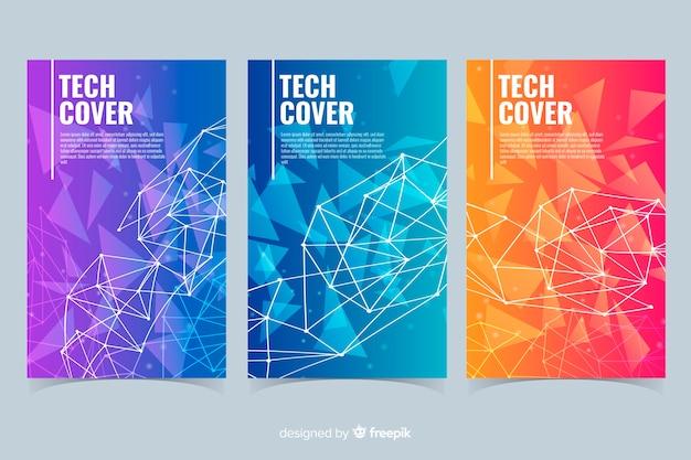 Coleção de capa de conceito de tecnologia gradiente