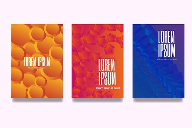 Coleção de capa de desenho geométrico gradiente