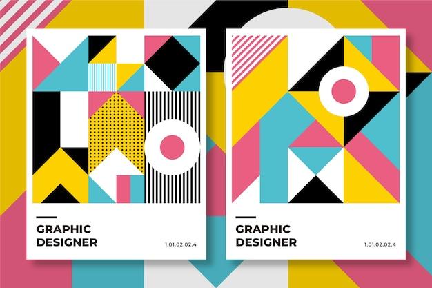 Coleção de capa de design gráfico no estilo baugaus