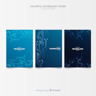 Coleção de capa de estilo de tecnologia de gradiente